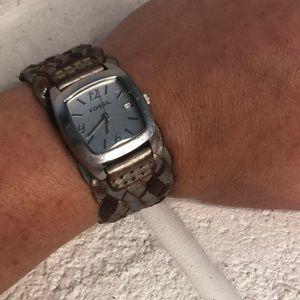 Fossil Women's Braided Metallic Leather Watch